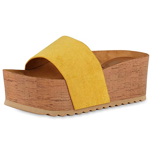 SCARPE VITA Damen Plateau Sandaletten Pantoletten Holzoptikabsatz Sommer Schuhe Mid Heel Plateauschuhe Profilsohle 175300 Gelb 37 - Mid Heel Heels Schuhe