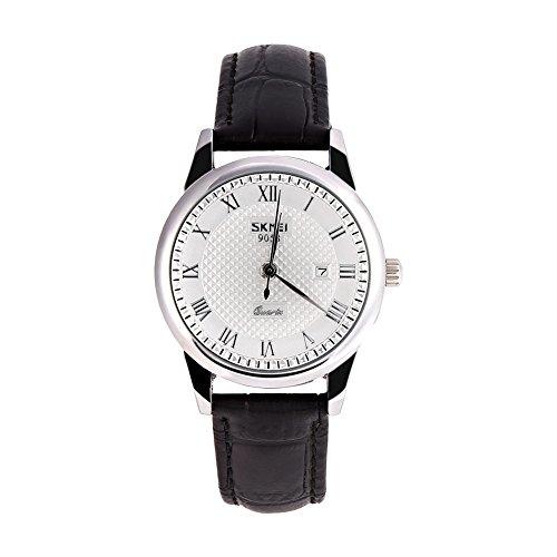 Montres pour les hommes, 2Types Quartz analogique ronde amoureux Couple montre-bracelet en cuir montre-bracelet(Silver Dial Black Strap Female)