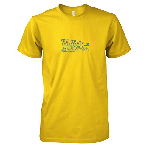 TEXLAB - Born in the 80s - Herren T-Shirt, Größe XXL, gelb (Doc Zukunft In Brown Die Kostüm Zurück)