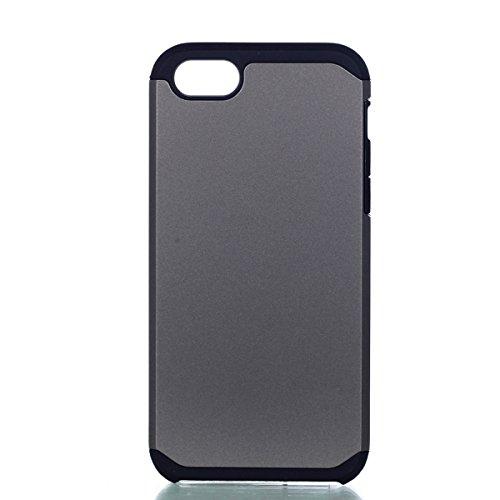Per iphone 5 5S SE Custodia, Ekakashop di lusso Hybrid Heavy Duty antiurto morbido silicone Gel & Rigida PC 2-in-1 non Layer antiscivolo Anti-dirt Protezione Protettivo Cover Case per Apple iphone 5 5 Grigio