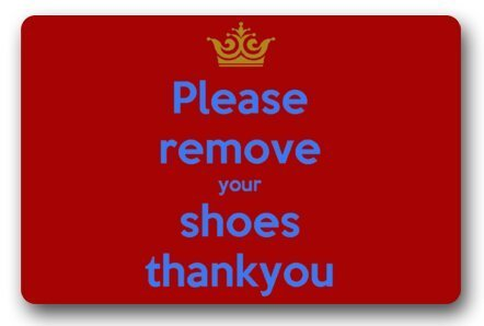 Vidmkeo BravoVision Custom Please Remove Your Shoes Red and Blue Sign Indoor/Outdoor Doormat...