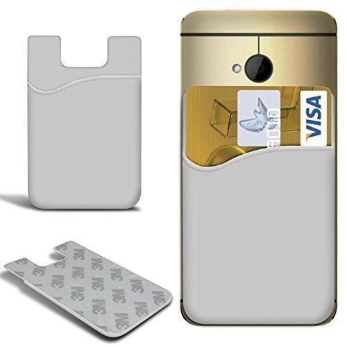 N4U ONLINE - Xiaomi Mi Note Pro Slim Silikon zum Aufkleben Guthaben / Bankkarte Kartenschlitz Schutzhülle - weiß