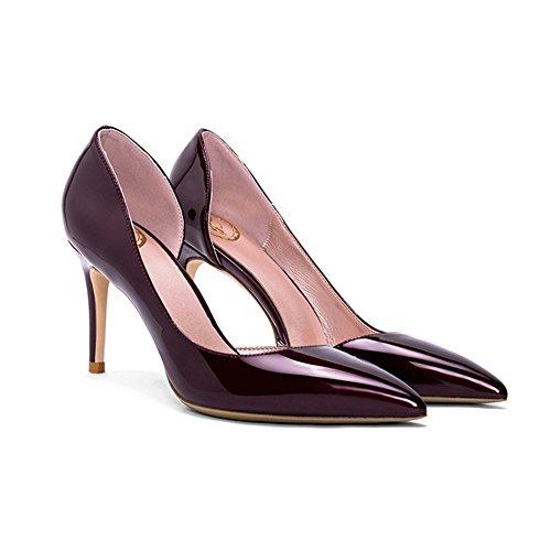 YIXINY Escarpin GD-667T Chaussures Simples Femme PU Amende Talon Pointu La Bouche Peu Profonde Mariage 8 CM Talons Hauts Vin Rouge