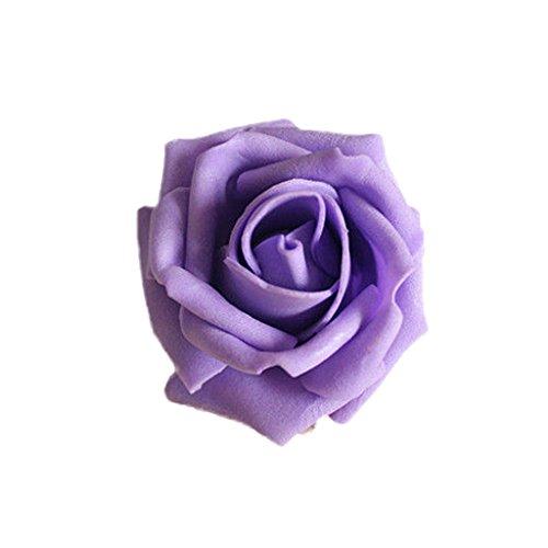 50x rosa teste di fiore artificiale schiuma sposa bouquet decorazione matrimonio partito casa - viola