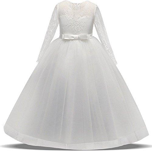 AGOGO Mädchen Kinder Mit Kleider Blumenmädchenkleider Hochzeitskleid Maxikleid Festlich Brautjungfern Kleid Prinzessin Hochzeit Abendkleid Party Maxi Kleid Gr.116 128 134 140 146 152 164 (Z-Weiß, 164)