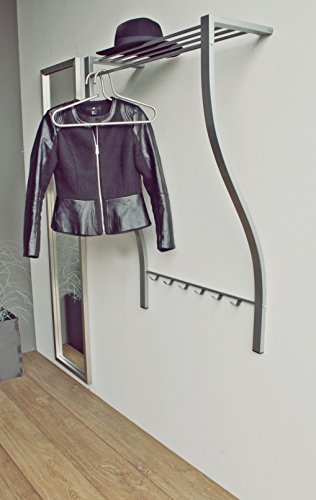 Spinder Design - Carve 1 Wandgaderobe / Garderobe - 113 x75x29 cm - 6 Haken - Nickel