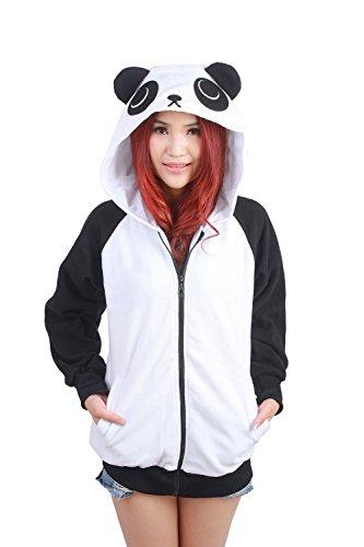Hstyle Unisex Animal Hoodies Cosplay Kostüm Seitentaschen Reißverschluss Mit Kapuze Cartoon Schönen Trainingsanzug Casual Wear Jacke Panda (Hoodies Charakter Cartoon)