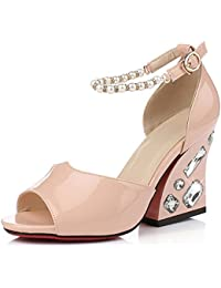 Aisun Damen Elegant Lackleder Strass Perlen Toe Open Plateau Blockabsatz Sandalen Pink 34 EU