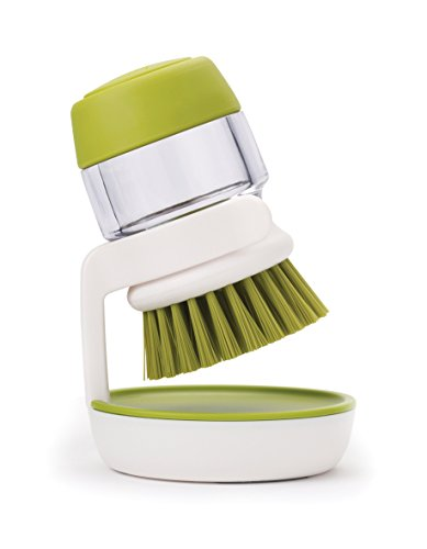 Joseph Joseph Palm Scrub Soap Dispensing Washing-Up Brush with Storage Stand - Green