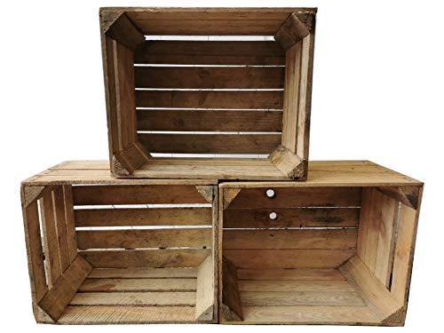 Teramico 3er Set Massive gebrauchte Obstkisten in Natur und GEFLAMMT -Ideal zum Möbelbau oder zur Aufbewahrung- ROBUST, STABIL und GEREINIGT - als Schuh-, Bücher- oder Aktenregal (Natur)