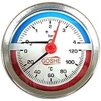 Termómetro de 80 mm de temperatura y presión de hasta 120 °C y 4 bar BSP trasero