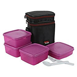 Jaypee plus Wonder bag 4 lunch box with bag, 4 pieces, Pink