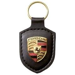 Idea Regalo - Portachiavi con stemma originale Porsche, colore nero