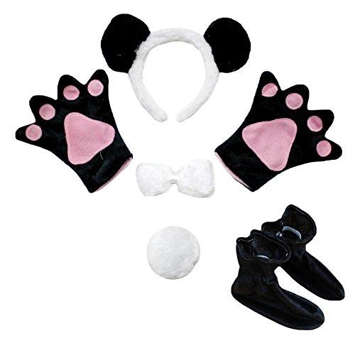 petitebelle Panda Stirnband Schleife Schwanz Handschuh Schuhe 5Party Kostüm Kinder