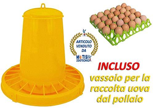 Novital mangiatoia a tramoggia da kg.15 con coperchio in plastica e griglia antispreco mangime, per polli, galline e pollame in genere