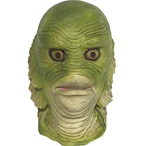 Rwdacfs Beängstigend Fisch Freak Tier Maske Latex Halloween Party Perücke Spoof Requisiten