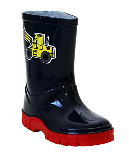 Boys Childrens Kids Infants Mid Calf Blue and Red Digger Waterproof Wellington Wellies Puddle Boots UK Sizes 3-10