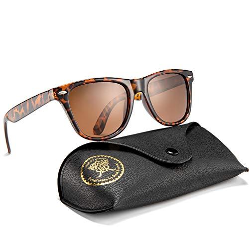 Rocf Rossini Polarisiert Herren Sonnenbrille für Damen klassisch Retro Sonnenbrillen Männer und Frauen Vintage Anti Reflexion UV400 Schutz - Unisex (Schildkröte/Braun)