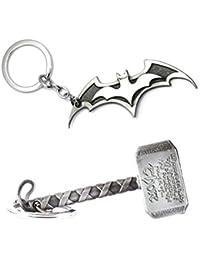 Combo Pack Of Batman Logo Keychain &Thor Hammer Keychain. || Pack Of 2 Keychains