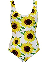 Adorable Sunflower Flower Floral All Over Printed Swimsuit Bodysuit