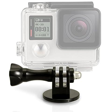 igadgitz Adaptateur de Fixation Trépied / Monopode / Bâton Selfie Stick avec vis et écrou pour GoPro Hero Session/4/3+/3/2/1 - Noir