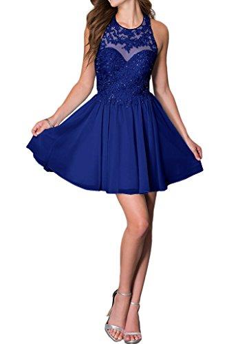 Promgirl House Damen Chic Hellblau Rosa Royalblau A-Linie Spitze Ballkleider Cocktail Abendkleider Kurz-34 Royalblau