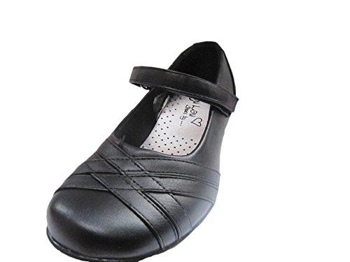 Chaussures École Fille Enfants Tout-petits Diamant Bracelet Velcro Verni Coeur Ballerine Noir - SAUTER