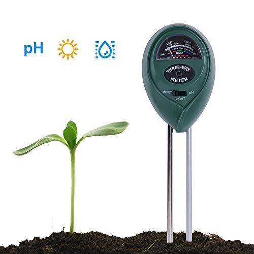 RCYAGO 3 in 1 Bodentester PH Wert Messgerät Meter und Feuchtigkeit Messgerät Lichtstärke Tester für drinnen und draußen Pflanzen Garten & Gras Rasen