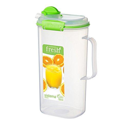 Kühlschrankkanne Saftkanne Saftkrug, luftdicht verschließbar, mit Maßkala, BPA-freier Kunststoff, ca. 2 Liter, ca. 17 x 9 x 27.5 cm, transparent/grün