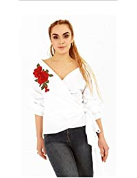 Stylish Floral Embroidered Ruffle Sleeve Tie Front Knot Off Shoulder Print Wrap Shirt Top
