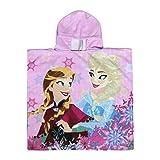 Disney Frozen - Poncho con Cappuccio, Asciugamano da Spiaggia per Bambini e Neonati, Colore: Rosa