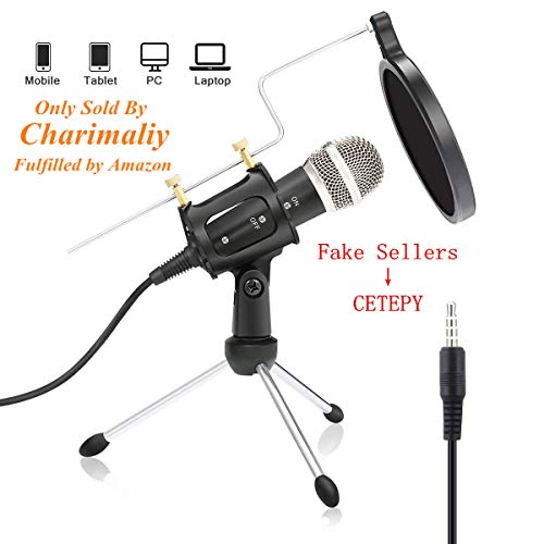 USB PC Micrófono, nasum, Podcast Micrófono, para Studio, grabaciones, Skype, YouTube, con soporte y Pop Protección (Windows/Mac) (3.5mm Plug)