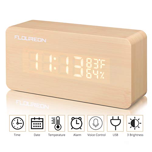 FLOUREON Reloj Despertador Digital Cable USB -Mesa