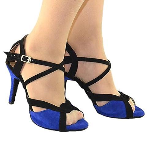 Women Sandals High Heel Leather Suede Soft Soles Buckle Dance Shoes Blue Black Salsa Latin Samba Tango Ballroom . A .