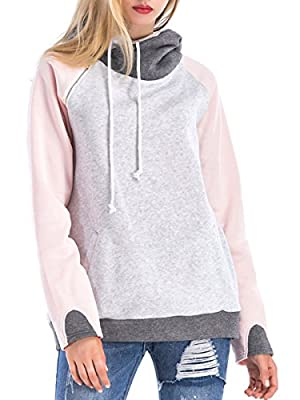ClasiChic Damen Pullover Langerarm Kaputzenpullover Hoodie Stickerei Sweatshirt Oberteil Tops