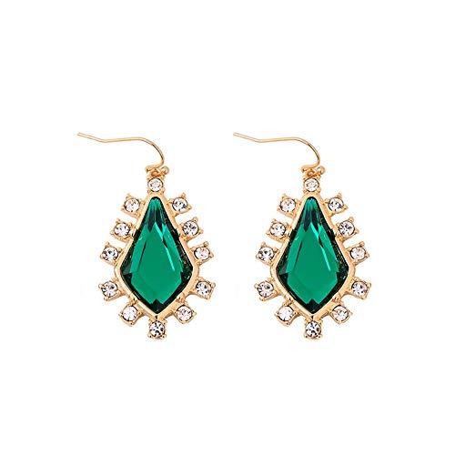 ZHWM Ohrringe Ohrstecker Ohrhänger Grüne Geometrische Kristallohrringe Simple & Fashion Damen Hochzeit Ohrringe Markenschmuck