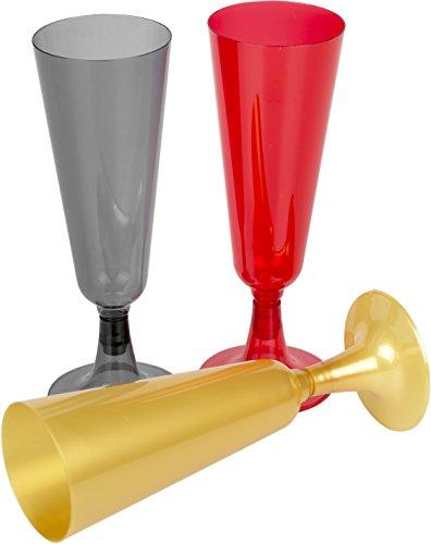 HEKU 30227-34: 24 Einweg-Sektgläser schwarz/rot/gold aus Kunststoff