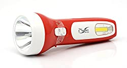 EN-614 Rechargeable Everyday Purpose Torch Lamp with Strong and Weak Light Option Flashlight with 3W Laser LED Torch and 1W COB ideal for for Camping Hiking Outdoor and Everday day purpose (RED)