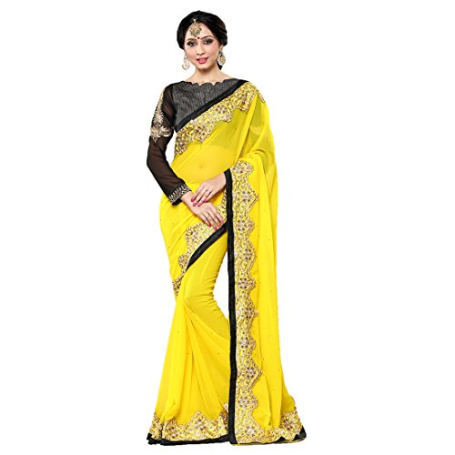Women'S Yellow Color Georgette Embroidery, Hand Work Woven Saree