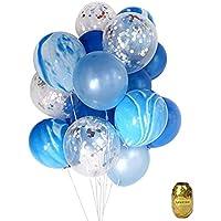 Yuccer Globos Confeti, Globos de Fiesta de Colores Látex Globos Transparentes para Aniversario Navidad Cumpleaños Boda Baby Shower Decoraciones 12 Pulgadas (A, 21 Piezas)