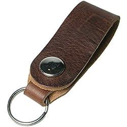 Creative colorido de piel auténtica hecho a mano Real Keys Holder llavero fabricado en Reino Unido, Cuero, marrón