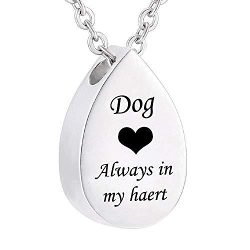 AMA-StarUK36 Tropfenförmige Halskette für Asche, Herz Feuerbestattung Memorial Andenken Anhänger Halskette Schmuck Immer in Meinem Herzen(Dog) -