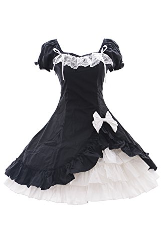 Rock Lolita (JL-572-2 schwarz weiß Kleid & Rock Stretch Classic Gothic Lolita Kostüm dress Cosplay Kawaii-Story (Stretch M-L))