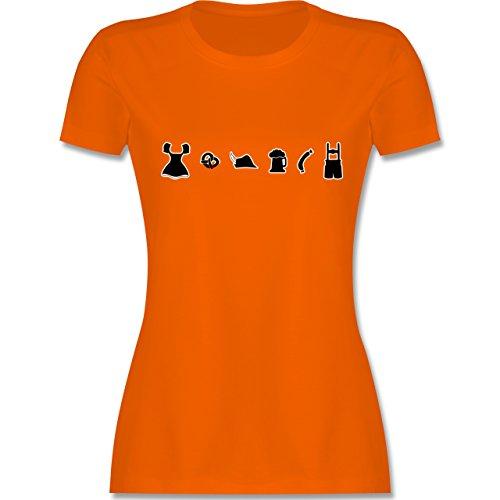 Oktoberfest Damen - Oktoberfest Piktogramme - tailliertes Premium T-Shirt mit Rundhalsausschnitt für Damen Orange
