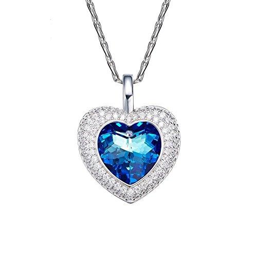 Haixin À l'aide de collier en cristal autrichien élément 925 argent sterling pendentif de coeur océan féminin