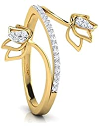 RG Jewellery-14k-Yellow-Gold-Plated-Cubic -Zirconia-925-Sterling-Silver-Accent-Beautifull-Rose-Ring