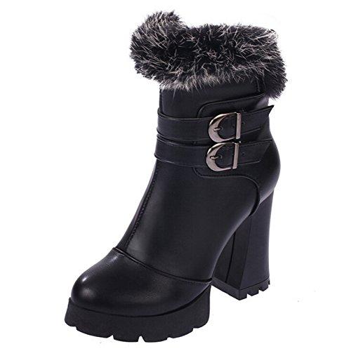 Gaorui Damen Stiefeletten Ankle Boots mit Fleece Warm Gefüttert Blockabsatz Schwarz Rot Schwarz