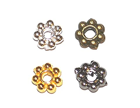 Packet Of 80+ Antique Gold Plated Alloy Daisy Flower Spacers