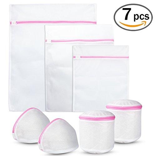 Mesh Wäschesäcke 7Pack wiederverwendbar weiß Reißverschluss Waschen mit BH und Dessous Taschen für Bluse Socken Unterwäsche Baby Strumpfhosen von fanuk (Mesh-socke-tasche)