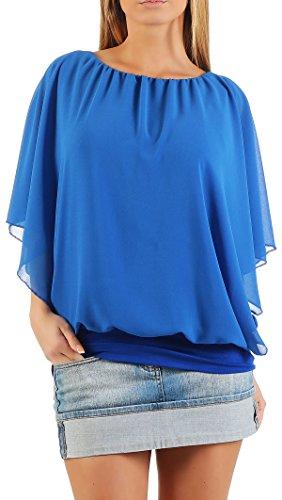 Damen Bluse im Fledermaus Look   Tunika mit Rundhals und breitem Bund   Blusenshirt Kurzarm   Elegant - Shirt 6296 (blau) Bund Shirt